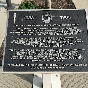 1683 - 1983To commemorate 300 years of German contributionsOn October 6, 1683, thirteen German families landed in America from Krefeld, Germany, on the ship Concord. This date is regarded as the ...