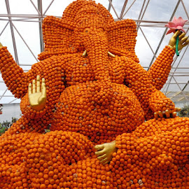The Orange Ganesha by Indraneel Bhattacharyya - Artistic Objects Other Objects ( orange, god, art, imagination, ganesha )