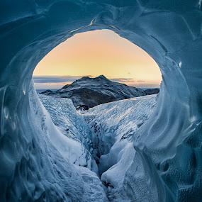 Inside the Ice cave by Tim Vollmer - Landscapes Caves & Formations ( iceland, mountain, sky, blue ice, ice, snow, cave, tunnel )