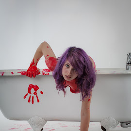 Climbing out of a tub after my death. by Lucy Black - People Portraits of Women ( creative, gore, art, alternative, blood, female model )