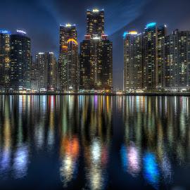Marine city by Geir Christensen - City,  Street & Park  Skylines ( marine, building, reflection, skyline, hdr, sea, haeundae, marine city, city, lights, buildings, busan, night, korea )