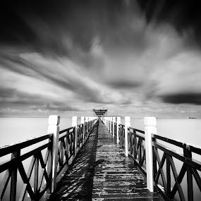 by Fairuzee Ramlee - Landscapes Waterscapes ( b&w, lanscape, cloud, jetty, longexposure )