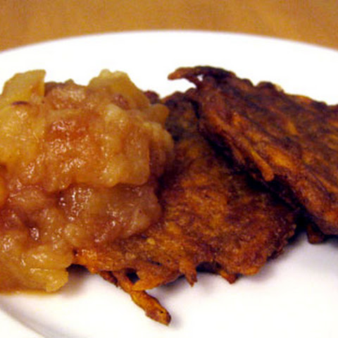 Curried Sweet Potato Latkes With Homemade Apple Pear Sauce