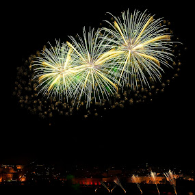 Yellow Hot Flowers in The Night by Renata Apanaviciene - Public Holidays Other ( maltese, malta, independence, fireworks, holidays )