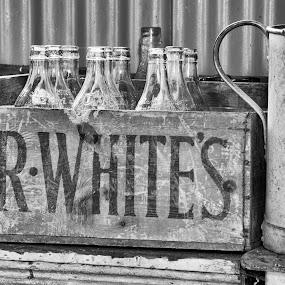 Antique lemonade by Steven Stamford - Black & White Objects & Still Life ( secret lemonade, wooden, bygones, black and white, lemonade, glass, bottles, crate, mono, antique, r white,  )