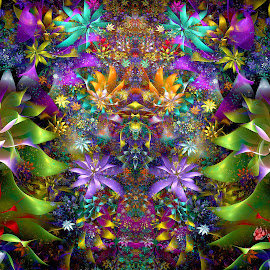 Wedged Florals Garden Symmetry by Peggi Wolfe - Illustration Abstract & Patterns ( abstract, wolfepaw, gift, unique, bright, illustration, wedge, bloom, fun, digital, blossom, print, décor, pattern, color, unusual, symmetry, fractal, garden, flower, floral )