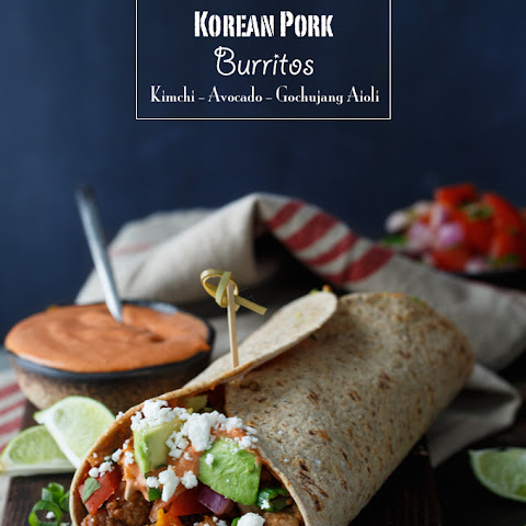 Healthy Korean Pork Burritos with Kimchi, Avocado, and Gochujang Aioli