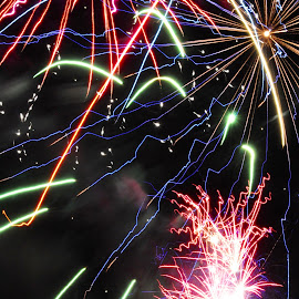 Shmorgesborge by Savannah Eubanks - Abstract Fire & Fireworks ( firework, pyro, explode, night, independence day, fireworks, colors )