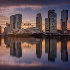 MS Koningsdam in Rotterdam by Rémon Lourier - City,  Street & Park  Skylines ( mirrored reflections, highrise, cruiseship, reflection, rotterdam, holland, sunrise, colours )