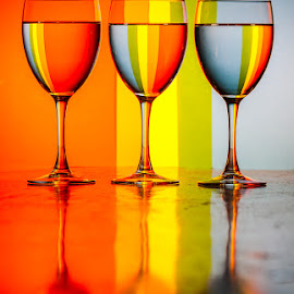 Three Wine Glasses by Carl Albro - Artistic Objects Glass ( red, glasses, colorful, yellow,  )