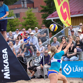Beach volley by Simo Järvinen - Sports & Fitness Other Sports ( sand, ball, player, volleyball, woman, sports, summer, game, beach )