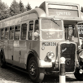 1950s bus by Zoot The-Tog - Transportation Other ( bus, wheel, vintage, transport, b & w, single decker )