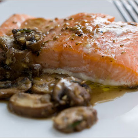 Oven-Steamed Salmon with Pan-Cooked Mushrooms