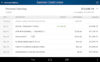 Screenshot of Eastman Credit Union Mobile