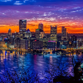 Purple Pittsburgh by RomanDA Photography - City,  Street & Park  Skylines ( water, skyline, cold, pittsburgh, 2015, fall, romanda photography, architecture, sunrise, refelection, city, river )