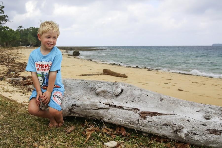 On The Log by Geoffrey Wols - Babies & Children Toddlers ( child, water, sand, vanuatu, beach, million dollar point, boy,  )