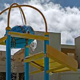 Frozen In Time by Jackie Matthews - City,  Street & Park  Amusement Parks ( water, water park, lanzarote, barrel )