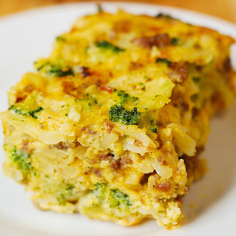 Hash Brown, Broccoli, Sausage and Egg Breakfast Casserole