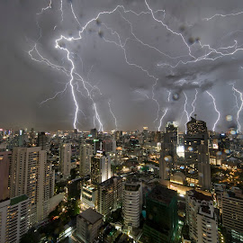 another rough night by Frank Photography - City,  Street & Park  Night ( thunder, bangkok, skyline, lightning, night, view, fear )