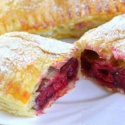 Puff From Ready-made Puff Pastry Stuffed With Frozen Cherries