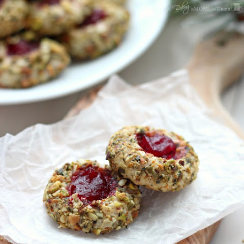 Cranberry Pistachio Cream Cheese Thumbprint Cookies