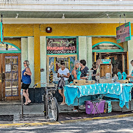 Outside Margaretaville by Sandy Friedkin - City,  Street & Park  Street Scenes ( bar, street, key west,  )
