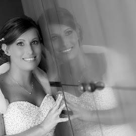 Federica by Mauro Locatelli - Wedding Bride ( reflection, black and white, bride )