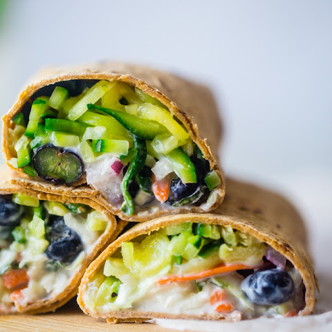 Zucchini Noodles Blueberry Basil Wrap With Honey Lime Yogurt