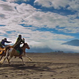Horse Racing in Mount Bromo by Bobby Stenly - Landscapes Travel ( cloud formations, mountain, indonesia, horse, horse racing, bromo, travel photography )