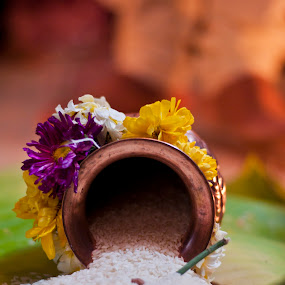 by Sudheer Hegde - Wedding Ceremony ( rice, color, 50mm, sudheer, bride, nikon, groom, flower )