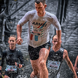 Here Comes The Army ! by Marco Bertamé - Sports & Fitness Other Sports ( water, splatter, splash, differdange, 2015, white, number, waterdrops, running, luxembourg, red-white-blue, army, red, flag, blue, strong, determined, drops, lady, arméi, becker, strongmanrun, 1207, man )