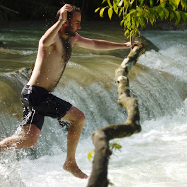 More dangerous than you think.... by Nick Hopton - Sports & Fitness Swimming ( laos, swim, waterfall, kuang si, luang prabang, swimming, jump,  )