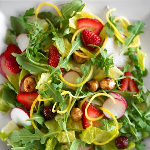 Strawberry, Radish and Mixed Greens Salad with Candied Hazelnuts and Miso Dressing