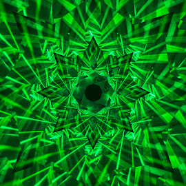 Lasershow by Johan Kvint - Illustration Abstract & Patterns ( art, green, kaleidoscope, laser, trippy, patterns )