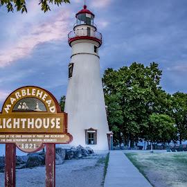 Lighthouse at Dusk by Pat Lasley - Buildings & Architecture Public & Historical ( marblehead, sunset, lighthouse, lake erie, coastline, dusk )