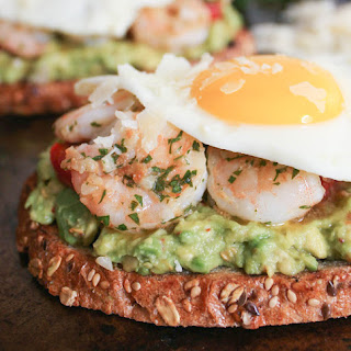 Avocado Toasts with Charred Tomatoes, Garlic Shrimp and Fried Eggs