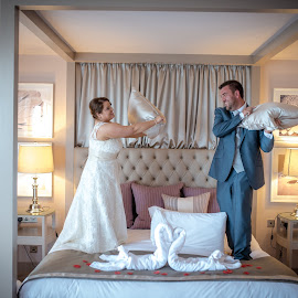 Pillow Fight!!!!!! by Paul Duane - Wedding Bride & Groom ( bed, wedding, candid, fun, bride, groom )