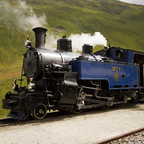 mountain steam train by Marc Zangger - Transportation Trains ( steam engine, dfb, blue, steam train, furka, slm, switzerland, hg 3/4, 1913, alps, steam )