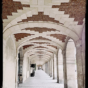 Place des Vosges by Pam Blackstone - Digital Art Places ( paris, brick arches, brick, arches, stone, brickwork, walkway, place des vosges, pilars, arcade )