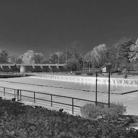 Closed For The Season #2 by Cal Brown - Black & White Buildings & Architecture ( letchworth, black and white, state park, fall, buildings, swimming pool, closed, new york, architecture )