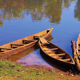 Three Boats by Sudipto Hazra - Transportation Boats ( blue, tranquil, water, boat )