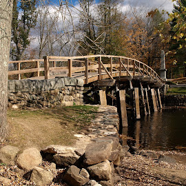The Revolution Begins by Bruce Caisse - Landscapes Travel ( american revolution, new england, autumn, bridge, massachusetts )