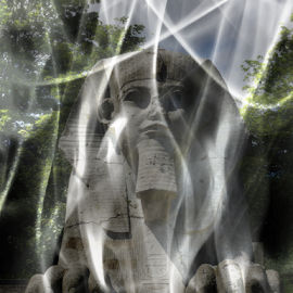 Distorted dream by Luigi Petro - Digital Art Things ( statue, sphynk, park, london, dream, crystal palace, head, egypt, smoke, retouched )