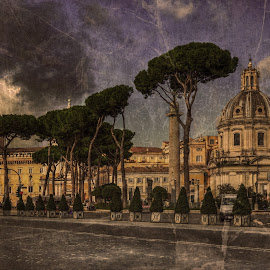 Pretty As a Postcard by Darin Williams - Digital Art Places ( clouds, forum, trajan, sky, roman forum, church, rome, trees, ruins, mary, italy, saint )
