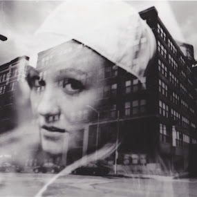 City girl by Nikki Prickett - People Fashion ( fashion, double exposure, black and white, fine art, cityscape, portrait )
