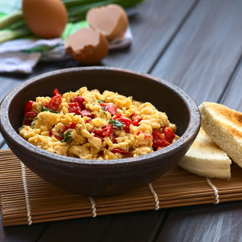 Eggs Scrambled With Fresh Bell Peppers And Onions