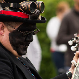 Morris Guitar by Marc Steele - People Musicians & Entertainers ( countryside, uk, morris, wellow, may day, instrument, black pig border morris, rural, pig, country, england, bank holiday, event, nottinghamshire, guitar, dancer, black )