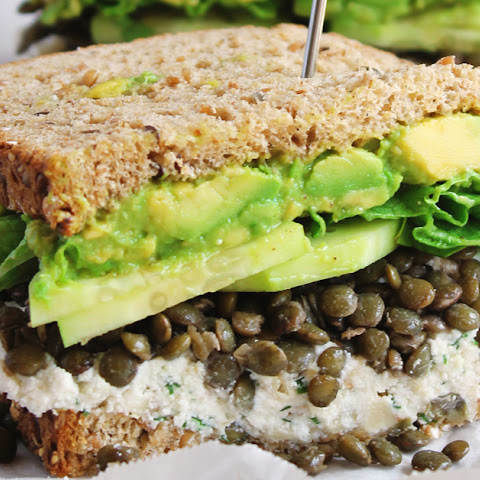 Spring Green Lentil Sandwiches With Walnut Herb Ricotta