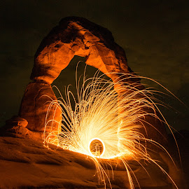 Fiery Arch by Givanni Mikel - Abstract Light Painting ( moab, arch, delicate, steel, wool )