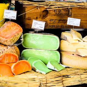 Say...cheese! by Andreea Alexe - Food & Drink Meats & Cheeses ( orange, market, green, bucket, cheese, yellow, wood crate,  )